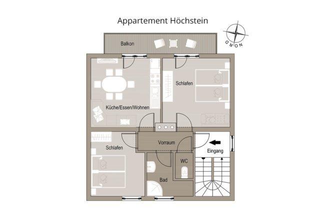Grundriss Höchstein - Appartementhaus Conny, Haus im Ennstal