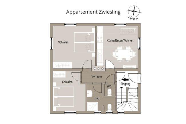 Grundriss Zwiesling - Appartementhaus Conny, Haus im Ennstal